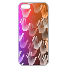 Clipart Hands Background Pattern Apple Seamless iPhone 5 Case (Clear)