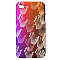 Clipart Hands Background Pattern Apple Iphone 4/4s Hardshell Case (pc+silicone)
