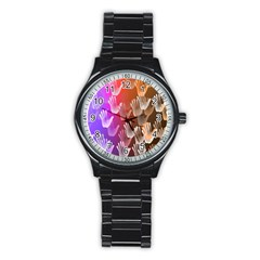 Clipart Hands Background Pattern Stainless Steel Round Watch