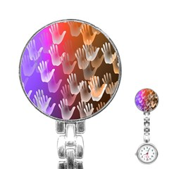 Clipart Hands Background Pattern Stainless Steel Nurses Watch