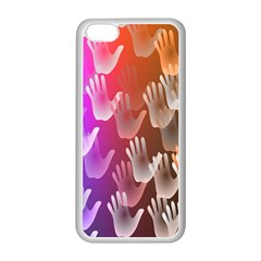 Clipart Hands Background Pattern Apple Iphone 5c Seamless Case (white)