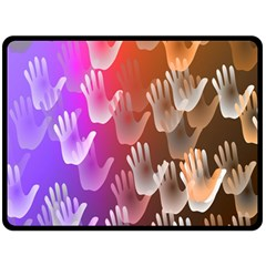 Clipart Hands Background Pattern Double Sided Fleece Blanket (large)