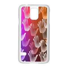 Clipart Hands Background Pattern Samsung Galaxy S5 Case (White)