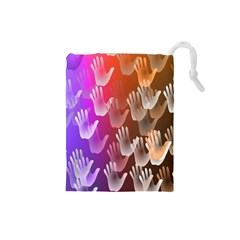 Clipart Hands Background Pattern Drawstring Pouches (Small)