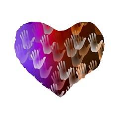 Clipart Hands Background Pattern Standard 16  Premium Flano Heart Shape Cushions