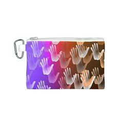 Clipart Hands Background Pattern Canvas Cosmetic Bag (s)
