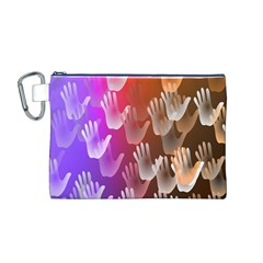 Clipart Hands Background Pattern Canvas Cosmetic Bag (M)
