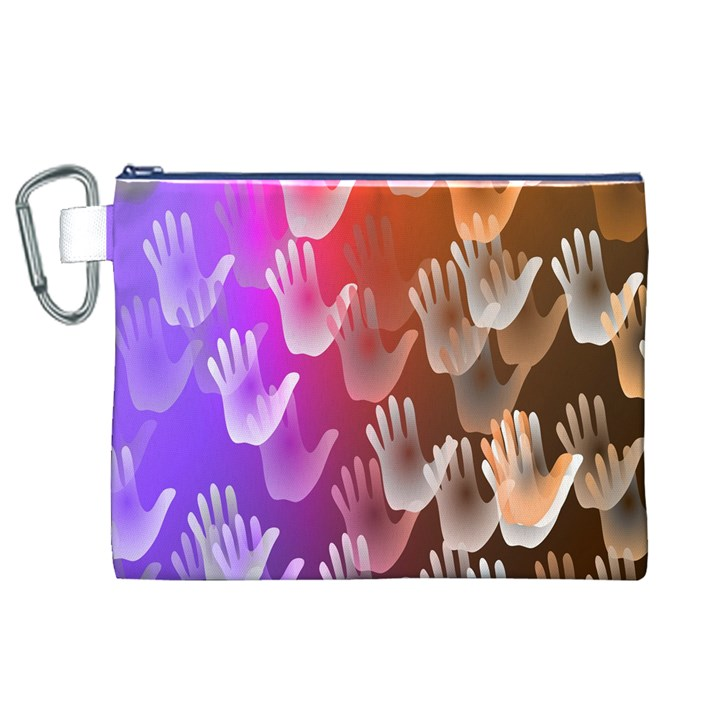 Clipart Hands Background Pattern Canvas Cosmetic Bag (XL)