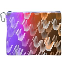 Clipart Hands Background Pattern Canvas Cosmetic Bag (xxxl)