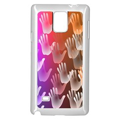 Clipart Hands Background Pattern Samsung Galaxy Note 4 Case (White)
