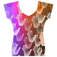 Clipart Hands Background Pattern Women s V-Neck Cap Sleeve Top