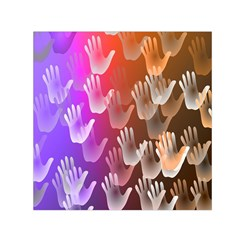 Clipart Hands Background Pattern Small Satin Scarf (Square)