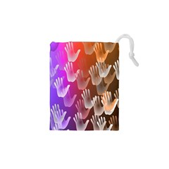 Clipart Hands Background Pattern Drawstring Pouches (XS)