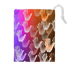 Clipart Hands Background Pattern Drawstring Pouches (Extra Large)
