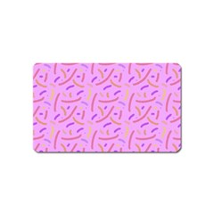 Confetti Background Pattern Pink Purple Yellow On Pink Background Magnet (name Card)