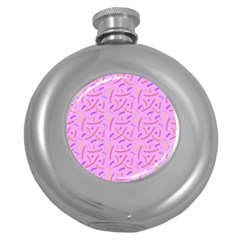 Confetti Background Pattern Pink Purple Yellow On Pink Background Round Hip Flask (5 oz)
