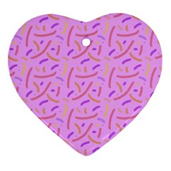 Confetti Background Pattern Pink Purple Yellow On Pink Background Heart Ornament (Two Sides)