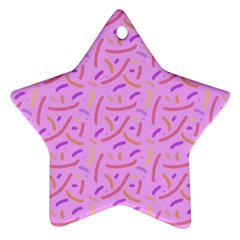 Confetti Background Pattern Pink Purple Yellow On Pink Background Star Ornament (two Sides)