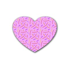 Confetti Background Pattern Pink Purple Yellow On Pink Background Heart Coaster (4 pack)