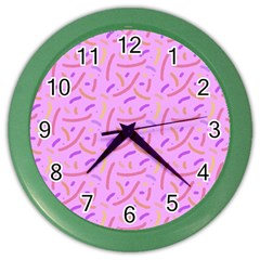 Confetti Background Pattern Pink Purple Yellow On Pink Background Color Wall Clocks