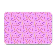 Confetti Background Pattern Pink Purple Yellow On Pink Background Small Doormat
