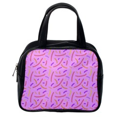 Confetti Background Pattern Pink Purple Yellow On Pink Background Classic Handbags (One Side)