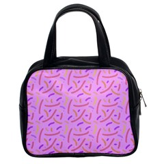 Confetti Background Pattern Pink Purple Yellow On Pink Background Classic Handbags (2 Sides)