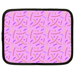 Confetti Background Pattern Pink Purple Yellow On Pink Background Netbook Case (xxl)