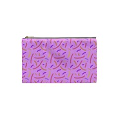 Confetti Background Pattern Pink Purple Yellow On Pink Background Cosmetic Bag (Small)