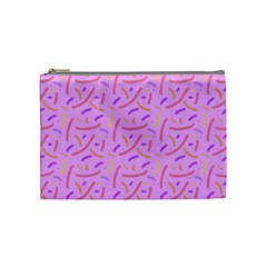 Confetti Background Pattern Pink Purple Yellow On Pink Background Cosmetic Bag (Medium)
