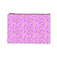 Confetti Background Pattern Pink Purple Yellow On Pink Background Cosmetic Bag (Large)