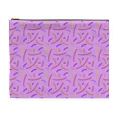 Confetti Background Pattern Pink Purple Yellow On Pink Background Cosmetic Bag (XL)