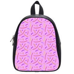 Confetti Background Pattern Pink Purple Yellow On Pink Background School Bags (Small)