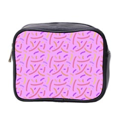 Confetti Background Pattern Pink Purple Yellow On Pink Background Mini Toiletries Bag 2 Side