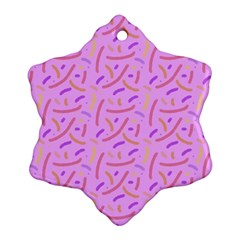 Confetti Background Pattern Pink Purple Yellow On Pink Background Snowflake Ornament (Two Sides)