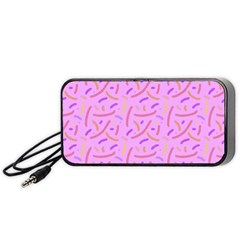 Confetti Background Pattern Pink Purple Yellow On Pink Background Portable Speaker (Black)