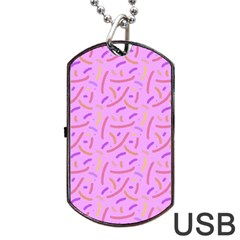 Confetti Background Pattern Pink Purple Yellow On Pink Background Dog Tag USB Flash (One Side)