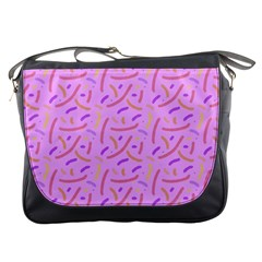 Confetti Background Pattern Pink Purple Yellow On Pink Background Messenger Bags