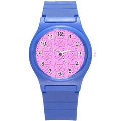 Confetti Background Pattern Pink Purple Yellow On Pink Background Round Plastic Sport Watch (s)