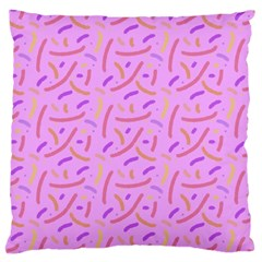 Confetti Background Pattern Pink Purple Yellow On Pink Background Large Cushion Case (two Sides)