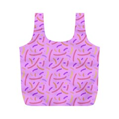 Confetti Background Pattern Pink Purple Yellow On Pink Background Full Print Recycle Bags (M)