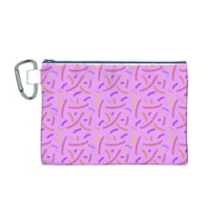 Confetti Background Pattern Pink Purple Yellow On Pink Background Canvas Cosmetic Bag (m)