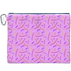 Confetti Background Pattern Pink Purple Yellow On Pink Background Canvas Cosmetic Bag (XXXL)