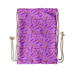 Confetti Background Pattern Pink Purple Yellow On Pink Background Drawstring Bag (Small)
