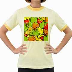 Digitally Created Funky Fruit Wallpaper Women s Fitted Ringer T Shirts
