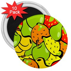 Digitally Created Funky Fruit Wallpaper 3  Magnets (10 pack)