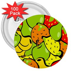 Digitally Created Funky Fruit Wallpaper 3  Buttons (100 Pack)