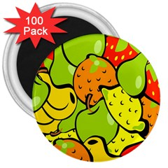 Digitally Created Funky Fruit Wallpaper 3  Magnets (100 Pack)