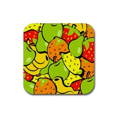 Digitally Created Funky Fruit Wallpaper Rubber Square Coaster (4 pack)