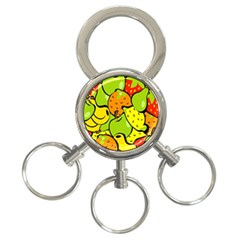 Digitally Created Funky Fruit Wallpaper 3 Ring Key Chains